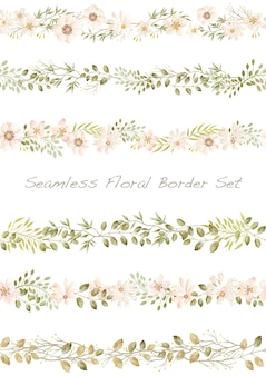 Seamless vector watercolor floral border set on a white