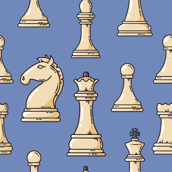 Seamless vector white chess pieces pattern