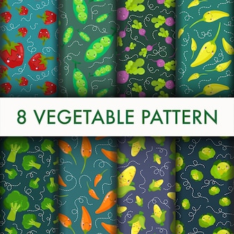 Seamless vegetable pattern set.