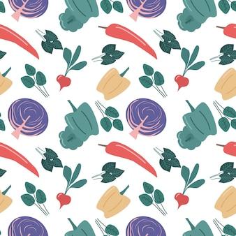 赤キャベツコショウと大根とシームレスな野菜のパターン分離ベクトル背景