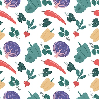 Seamless vegetable pattern with red cabbage pepper and radish isolated vector background