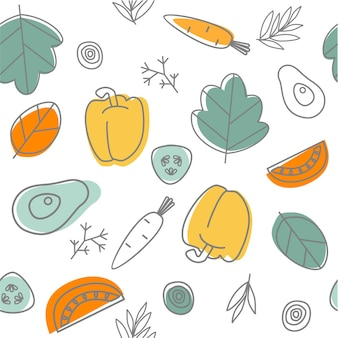 Seamless vegetables background doodle pattern healthy food