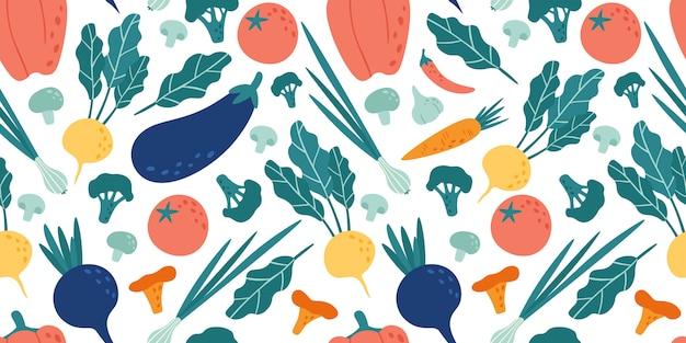 シームレスな野菜パターン。手描き落書きベジタリアン料理。野菜大根、ビーガンビーツ、トマトのイラスト