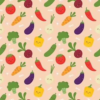 Seamless vegetables pattern in kawaii style