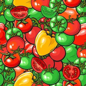 빨간색과 녹색 토마토와 고추 벡터 일러스트와 함께 완벽 한 야채 패턴