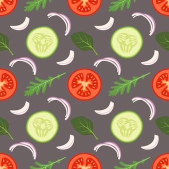 白い背景の上のほうれん草ルッコラのトマトキュウリの葉とシームレスな野菜のパターン