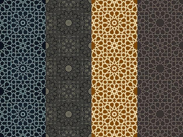 シームレスな垂直モロッコパターンアラビアの幾何学的な背景