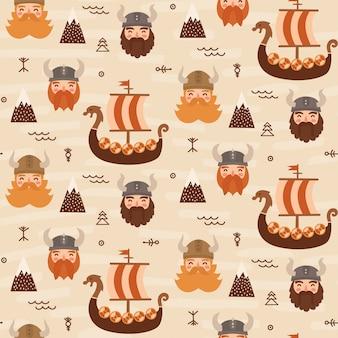 Seamless viking pattern for kids
