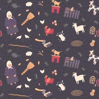 Seamless village pattern on a dark background