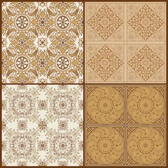 Бесшовные винтаж фон коллекция викторианской плитки