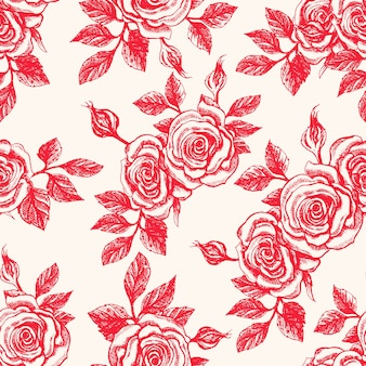 Seamless vintage background with red roses
