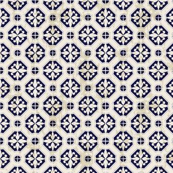 シームレスなヴィンテージ中国の青と白の磁器ダイヤモンドラウンドパターン