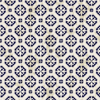 Seamless vintage chinese blue and white porcelain diamond round pattern