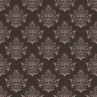 Seamless vintage damask pattern. brown and beige background.