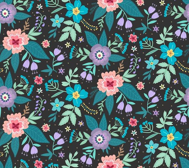 Бесшовный старинный цветочный узор. черный фон, маленькие разноцветные цветы. яркий принт с ditsy-мотивом. модный дизайн поверхности.