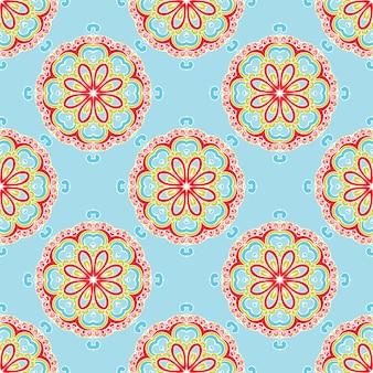 シームレスなヴィンテージ花タイル張りの背景パターンベクトルデザイン
