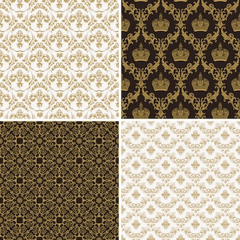 Seamless vintage gold and black pattern, victorian style