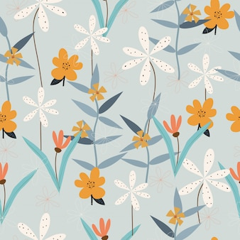 Seamless vintage hand drawn floral pattern