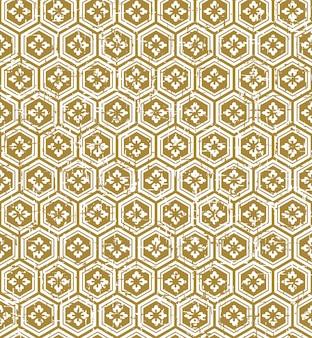 Seamless vintage japanese style golden polygon flower pattern