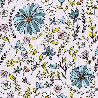 カモミールと花とのシームレスなビンテージパターン。デスクトップの壁紙や壁掛けやポスターのフレーム、パターンの塗りつぶし、表面のテクスチャ、webページの背景、テキスタイルなどに使用できます