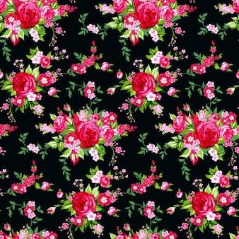 우아한 장미와 원활한 빈티지 패턴