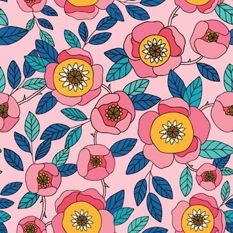 꽃과 원활한 빈티지 패턴입니다. 패턴 채우기, 표면 질감, 웹 페이지 배경, 섬유 등을 위해 바탕 화면 배경 무늬 또는 벽걸이 또는 포스터 프레임에 사용할 수 있습니다.