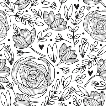 Seamless vintage pattern with flower.