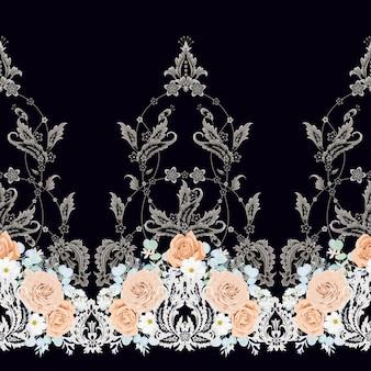 복숭아 장미와 원활한 빈티지 패턴