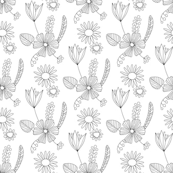 Seamless vintage pattern with victorian bouquet of black flowers