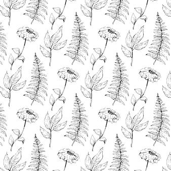 검은 꽃의 빅토리아 부케와 원활한 빈티지 패턴입니다. 정원 장미, 튤립, 참 제비 고깔, 피튜니아. 단색화.