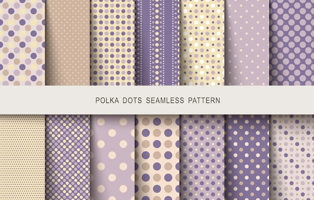 Seamless vintage patterns polka dots set