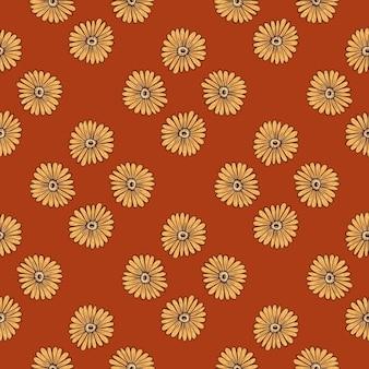 淡い黄色のヒマワリの形がプリントされたシームレスなビンテージスタイルのパターン。パステルマルーンの背景。季節のテキスタイルプリント、ファブリック、バナー、背景、壁紙のベクトルイラスト。