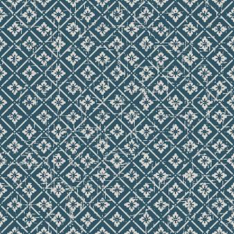 シームレスなヴィンテージ使い古したフラワーチェックパターン