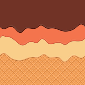 Seamless wafer and dripping cream repeatable vector art background