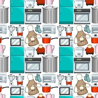 Бесшовный дизайн обоев с иллюстрациями кухонных принадлежностей Бесплатные векторы