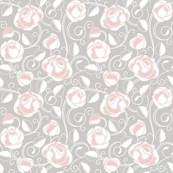 장미와 원활한 벽지 패턴