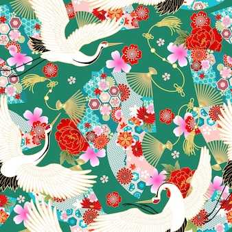 Seamless wallpaper with fans in asian style for design of summer dress fabrics