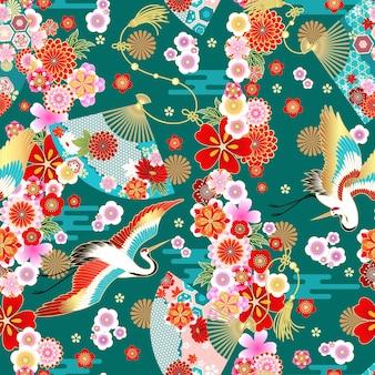 夏のドレス生地のデザインのためのアジアンスタイルのファンとのシームレスな壁紙