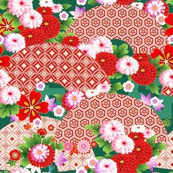 여름 드레스 직물 디자인을 위한 아시아 스타일의 팬이 있는 매끄러운 벽지
