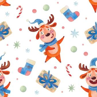 Бесшовный акварельный рождественский образец с подарками леденцы на палочке и оленями