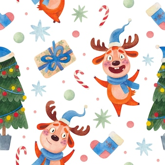 Seamless watercolor christmas pattern with reindeer and a christmas tree