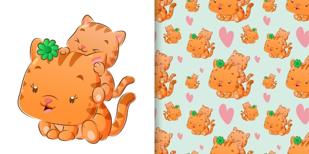 Seamless watercolor of cute cat playing her baby illustration