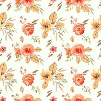 オレンジ色のバラと葉のシームレスな水彩花柄