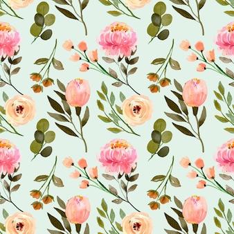 원활한 수채화 꽃 패턴 핑크 모란과 크림 파스텔 로즈