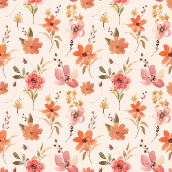 テラコッタとブラウンオレンジの花とのシームレスな水彩花柄