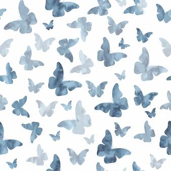 원활한 수채화 회색 나비 패턴