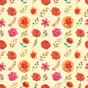 Seamless watercolor pattern of autumn themed floral and leaves
