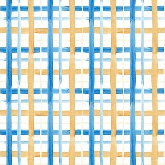 Seamless watercolor pattern in blue and gold cage