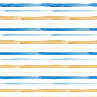 Seamless watercolor pattern blue and gold stripes