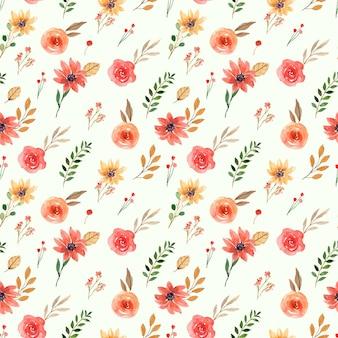 黄色とオレンジ色の春の花のシームレスな水彩パターン